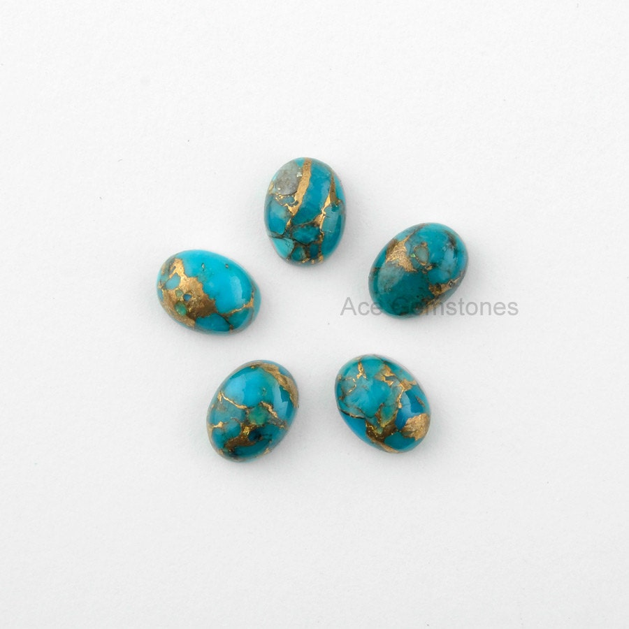 blue copper turquoise gemstone smooth calibrated
