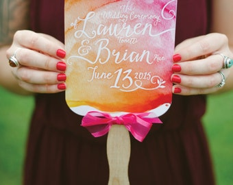 The LAUREN . Program Fan Printed Cards . Calligraphy Watercolor Wedding Gold Magenta . Choose Any Shape 5 x 7in Card DIY stick not included