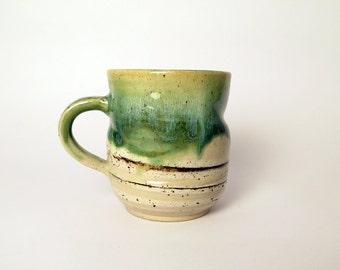 Ceramic colorful coffee mug with handle, Clay mug, Handmade stoneware mug, Ceramic large cup, Handmade green pottery mug