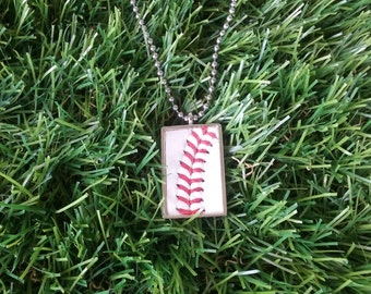 Baseball Necklace- Rectangle, Metal Back