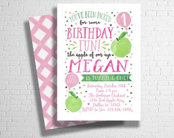 Apple Birthday Invitation | Apple of My Eye Birthday Invite | Farmer's Market Invite | Apple of our eye | Pink Green |  DIGITAL FILE ONLY