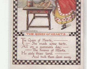 Flora White  A/S Circa 1920s Nursery Rhyme Postcard The Queen Of Hearts Unused