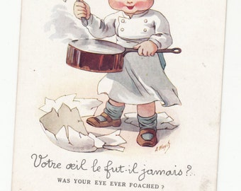 "Art Wuyts Child Boy Chef ""A Poached Egg""Very Whimsical French English Postcard 1920s Must See"