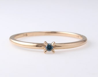 Blue Diamond Band ,Engagement Ring, Simple Diamond Ring, Solid 14K Gold, Stacking Ring, Diamond Wedding Band, Thin Diamond Ring