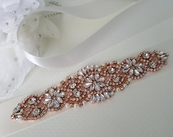 Rose Gold Wedding Belt, Rose Gold Bridal Belt, Rose Gold Sash Belt Style 140
