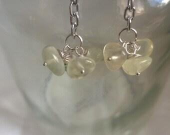 Silver Prehnite chain drop earrings Green Statement Earrings Genuine Gemstones