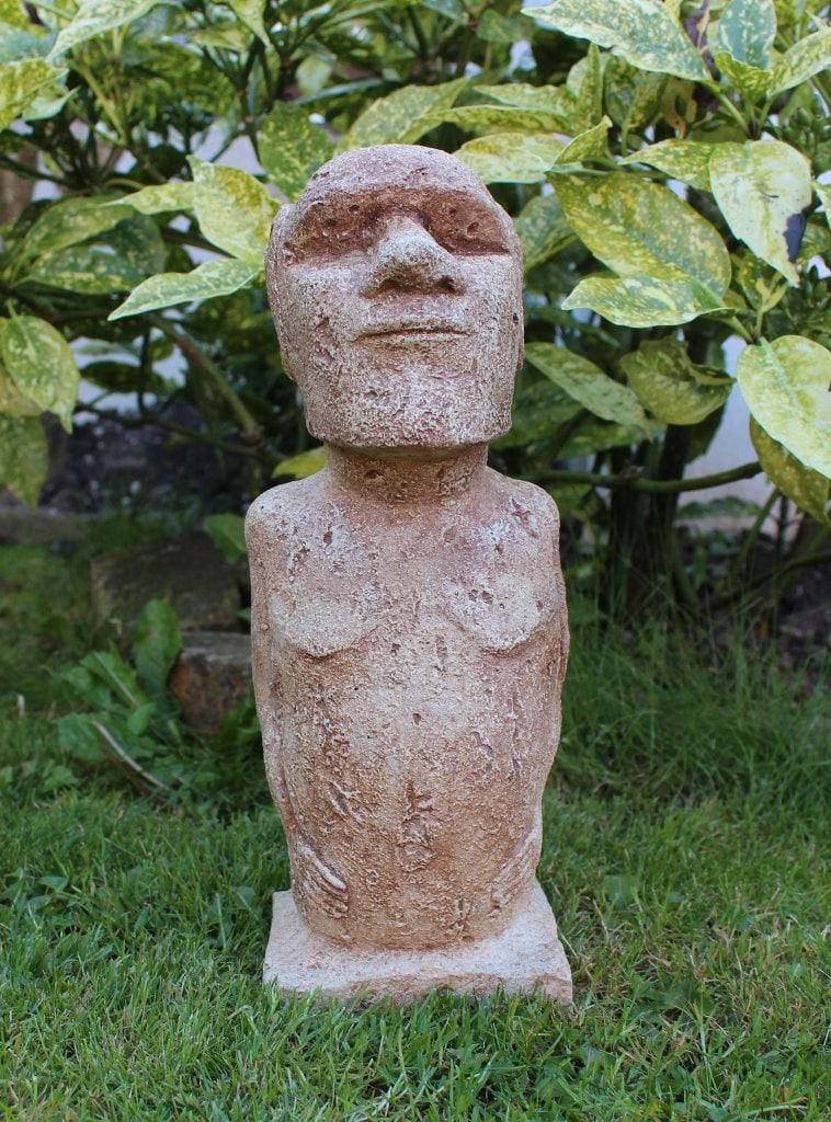 moai easter island statue stone garden statue by. Black Bedroom Furniture Sets. Home Design Ideas