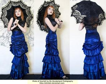 Dark Blue Satin Gothic Victorian Fishtail Bustle Skirt   - Ready To Ship