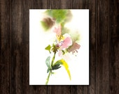 Watercolor Painting Art Print, Pink Alstroemeria Flowers Painting, Modern Floral Home Decor Wall Art