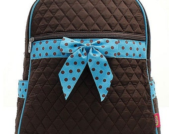 Brown and Turquoise Blue Quilted Monogrammed Backpack