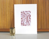 "Woodblock Print ""Tangle"" Purple Girls Room Art Printmaking"
