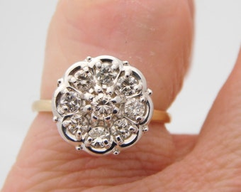 0.75 Carat Total Weight Round Cut Diamond Cluster Ring 10K Yellow Gold