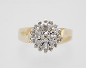 0.50 Carat T.W. Round & Baguette Cut Diamond Cluster Ring 10K Yellow Gold