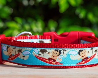 Mr Surfer Dog Collar / Surfer Dude Dog Collar / Australian Made Dog Collar / Red