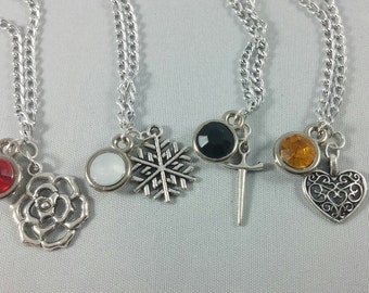 RWBY Inspired Mini Jewel & Charm Necklaces / Team RWBY - Ruby, Weiss, Blake, Yang