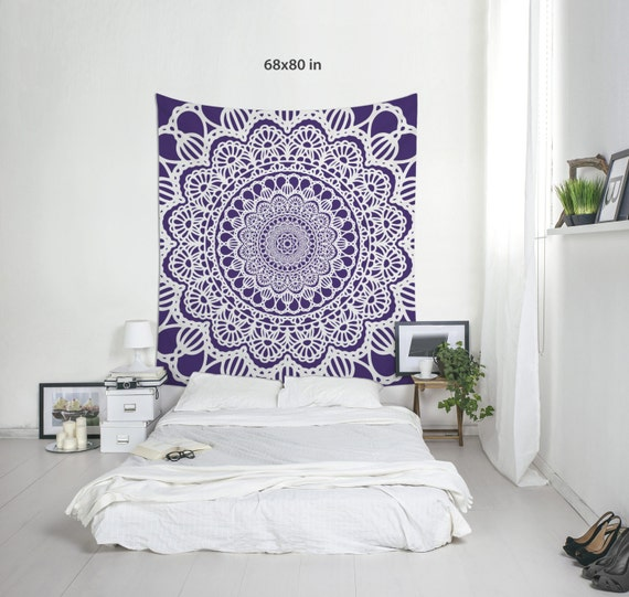 Boho Tapestries, Custom Color, Mandala Wall Art, Wall Hanging, Purple Tapestry, Dorm Decoration