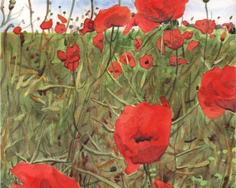Poppy field watercolor print. Poppies painting. Poppy wall art. Poppy picture. Red flowers. Watercolor poppies. Spring decor. Floral artwork