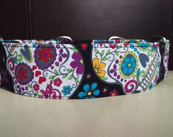 "Martingale Collar - Whippet, and Small to Medium Dog - 1.5"" width - Day of the Dead"