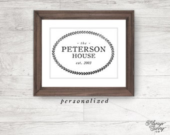 Personalized Family Name Sign Printable, Vintage Print, Family Name - INSTANT DOWNLOAD - 8x10, 5x7, 4x6