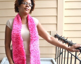 Crocheted Eyelash Pink for the Cause Scarf