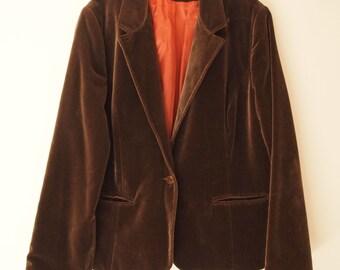 Brown Velvet Blazer Women - 70s Vintage Orange Lining - Autumn Clothing Winter Jacket - Medium Large