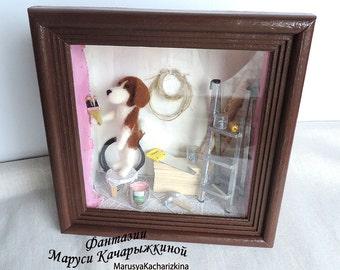 Handmade miniature, Roombox, Desk decor, Showcase, Shadow box, Diorama, repair