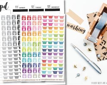 Washing Stickers - Washing Machines & Baskets - Planner Stickers - FS10