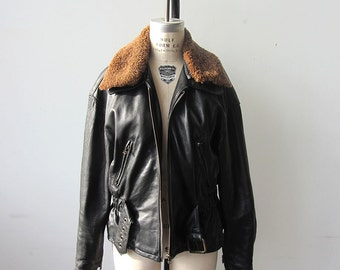 Amazing Black Leather Jacket with Shearling Collar