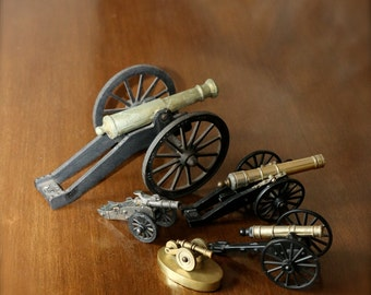 Vintage, Toy Cannon Collection, SET OF FIVE, Artillery Cannons, Instant Collection, Military, Historical, Civil War Artillary