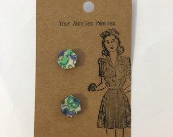 wood and fabric stud earrings, hexagon earrings