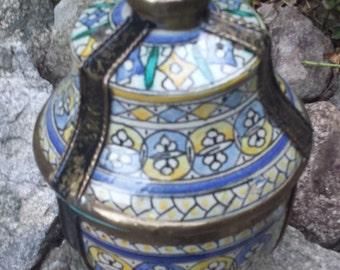 Vintage Trinket Jar/Box - Cloisonne Design with Bronze Accents - Large