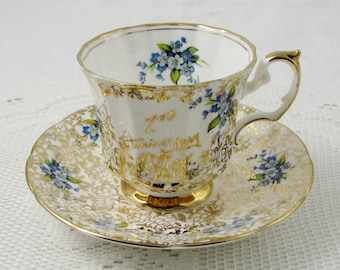 Elizabethan First Anniversary Tea Cup and Saucer, Gold Chintz with Blue Flowers, Anniversary Gift