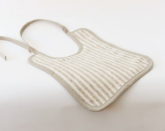 SALE 10% Off - Organic Linen Cotton Reversible Terry Baby Bib