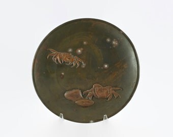 Antique Japanese Meiji Period Mixed Metal Plate with Crab Motif