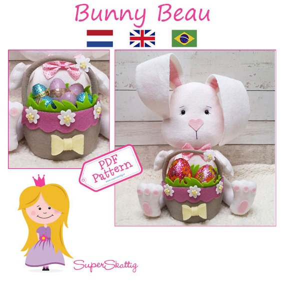 PDF pattern Bunny Beau, felt pattern Easter Bunny, felt pattern rabbit by Superskattig