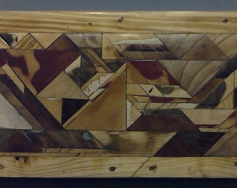 Abstract Scrap Wood Rustic  Mosaic Wall Hanging