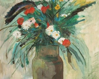 Vintage fauvist oil painting still life with flowers
