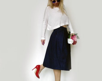Denim Pleated Skirt -midi skirt-women's skirt