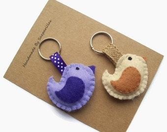 Felt Bird Keyring, Woodland Animals Cute Keychain, Bird Lover Gift