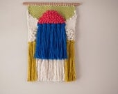 Small Weaving in bright colors | Handwoven wall hanging | Coral Light Green Blue