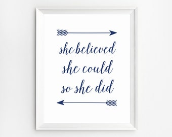 She Believed She Could So She Did Poster, Motivational wall decor, Navy blue Wall Art Print,  Printable Quotes, Motivational signs
