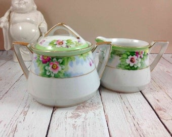 Nippon, Sugar and Creamer Set, vintage,hand painted,porcelain, cream pitcher, sugar bowl with lid,gifts for her,gifts for grandma, tea party