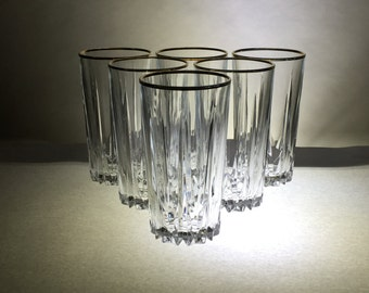 Vintage Tumblers | Set of Six | Clear with Gold Rim | Super Snazzy Fancy!