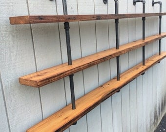 triple bookshelf vintage industrial three shelf bookcase with reclaimed wood shelf pipe wall mounted black iron