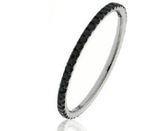 Full Eternity Black Diamond Ring 0.35ct 18K White Gold 1.3mm