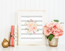 Gray Stripe Watercolor Flowers Floral Bouquet Painting Pink Coral Spring Print Printable Wall Art Home Decor Watercolor Nursery Flowers Art