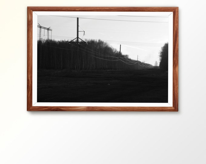 Wall prints Wall decor Large wall print Black and white art Electrical tower Power tower Power lines Rural landscape Sunset sky Dense forest