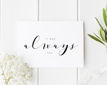It Was Always You Card, Simple See You At The Altar Card, Groom Wedding Day Card, Bride Wedding Day Card, Calligraphy WeddingCard, For Bride