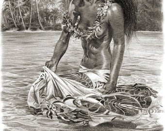 """Hula Girl Fine Art """"Walking With Rays"""" Island Collection by Phil Roberts"""
