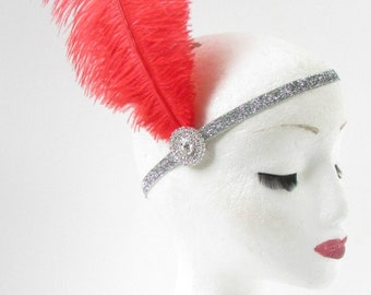Red Ostrich Feather Headband Flapper 1920s Great Gatsby Vintage Headpiece Silver Z01